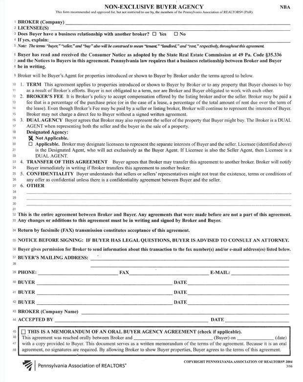 Patricia A. Skiba Realty, Non-Exclusive Buyer Agency Form, Agreement
